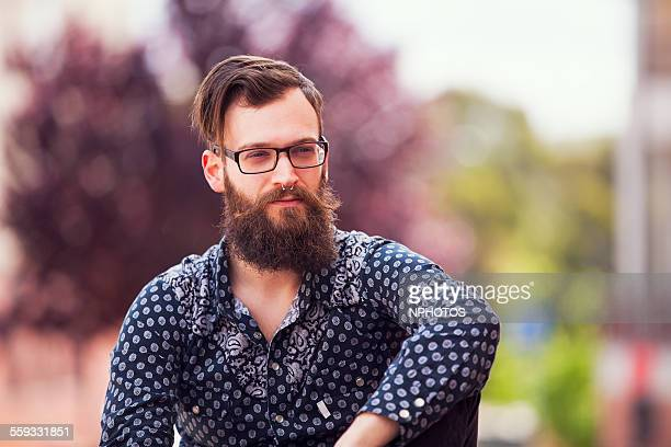 Hipster with long beard