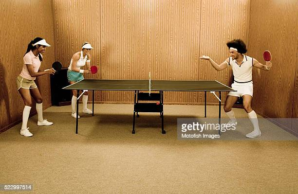 hipsters playing table tennis - funny ping pong stock pictures, royalty-free photos & images