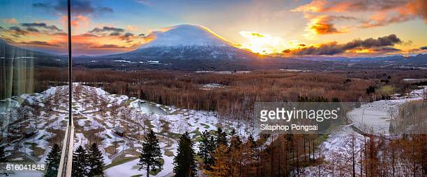 Hirafu, Niseko and Mount Yotei in Hokkaido, Japan, mountain in Hokkaido, volcano in Hokkaido.