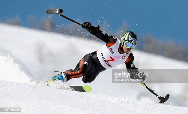 Hiraku Misawa competes in Super Combined during 2014 Japan Para Alpine Ski Championships on January 27 2014 in Hakuba Nagano Japan