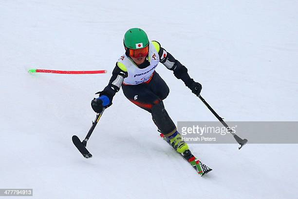 Hiraku Misawa of Japan competes in the Men's SC Slalom Run 1 Standing during day four of Sochi 2014 Paralympic Winter Games at Rosa Khutor Alpine...