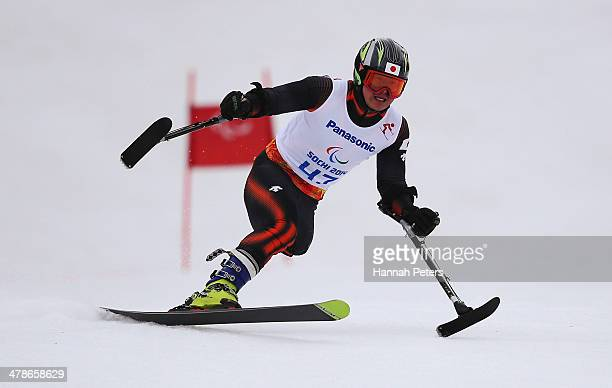 Hiraku Misawa of Japan competes in the Men's Super Combined Standing Super G during day seven of the Sochi 2014 Paralympic Winter Games at Rosa...