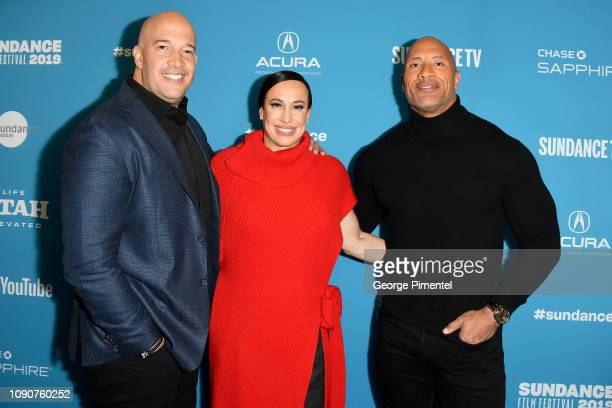 Hiram Garcia Dany Garcia and Dwayne Johnson attend the surprise screening of Fighting With My Family during the 2019 Sundance Film Festival at The...