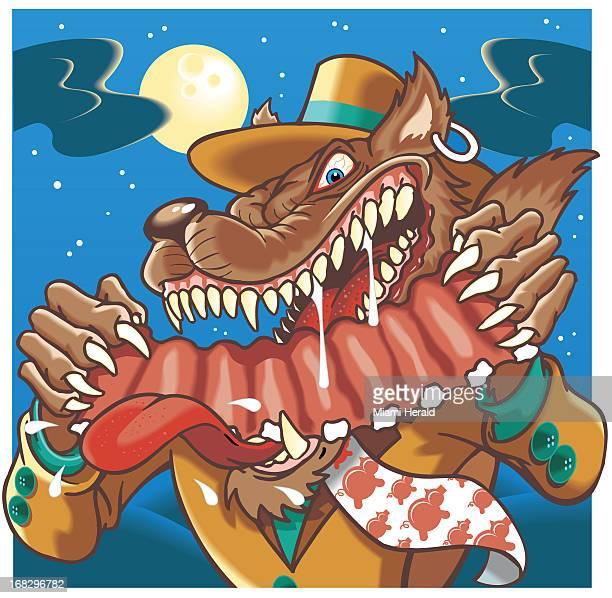 Hiram Henriquez color illustration of Big Bad Wolf eating spareribs