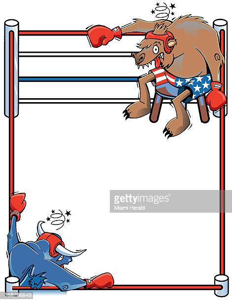 Hiram Henriquez color illustration of stock market 'bull' and 'bear' facing each other across a boxing ring
