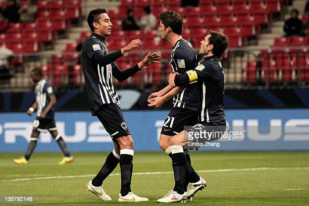 Hiram Mier of Monterrey celebrates with team mates during the FIFA Club World Cup 5th Place match between Club de Futbol Monterrey and Esperance...