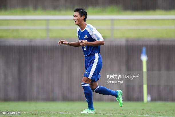 Hiramatsu Wataru of Shizuoka in action during the Shizuoka Youth Selection Team and Paraguay U18 during the SBS Cup International Youth Soccer at...