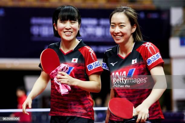 Hirano Miu and Ishikawa Kasumi of Japan celebrate the victory after the match again Zeng jian and Zhou Yihan of Singapore during the 2018 ITTF World...