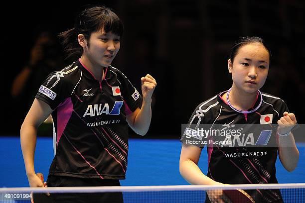 Hirano Miu and Ito Mima of Japan compete against Jiang Huajun and Tie Yana of Hong Kong during Women's doubles semifinal match of the 22nd 2015 ITTF...