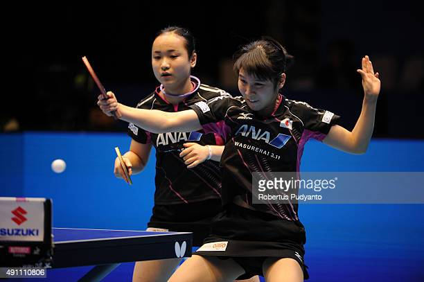 Hirano Miu and Ito Mima of Japan compete against Kim Hye Song and Ri Mi Gyong of DPR Korea during Women's doubles final match of the 22nd 2015 ITTF...