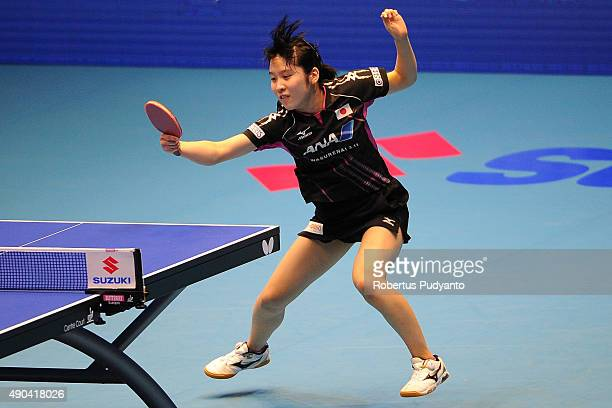 Hirano Miu of Japan competes against Chen Meng of China during Women's Team Champion Division final match of the 22nd 2015 ITTF Asian Table Tennis...