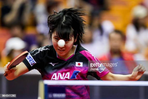 Hirano Miu of Japan in action at the women's singles match compete with Gu Yuting of China during the 2018 ITTF World Tour China Open on May 31, 2018...