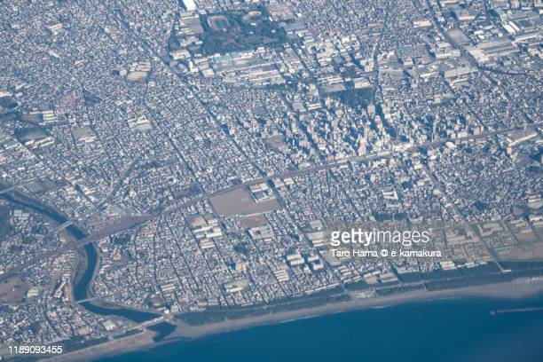 hiratsuka city in kanagawa prefecture of japan aerial view from airplane - 平塚市 ストックフォトと画像