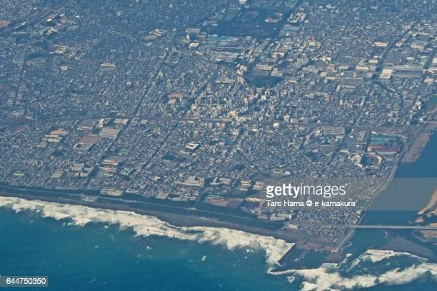 Hiratsuka cityscape aerial view from airplane