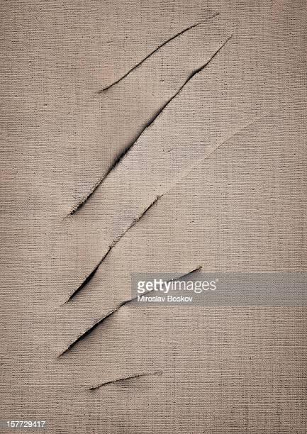 Hi-Res Artist's Primed Linen Canvas Cut Surface Vignette Grunge Texture