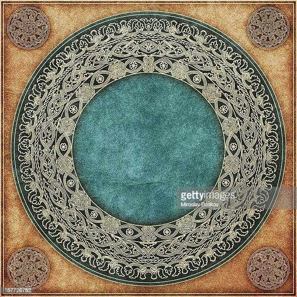 hi-res medieval decorative gilded arabesque rosette on animal-skin parchment - byzantine stock photos and pictures