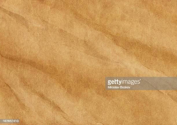 Hi-Res Old Recycle Brown Striped Kraft Paper Wrinkled Grunge Texture