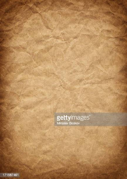 Hi-Res Old Recycled Brown Kraft Paper Crushed Vignetted Grunge Texture