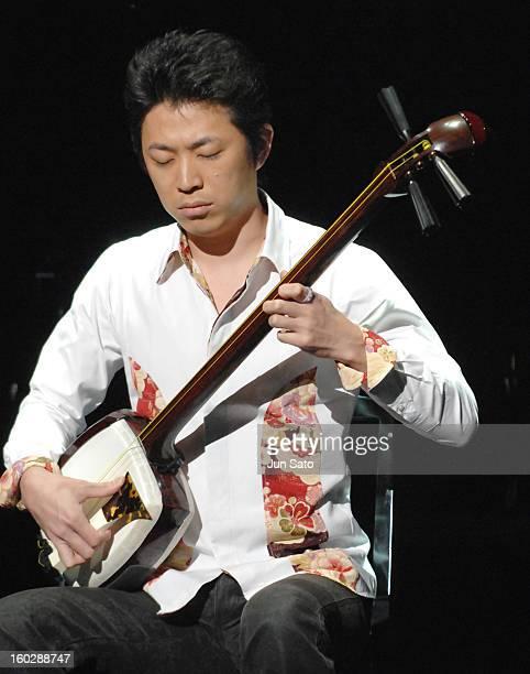 Hiriomitsu Agatsuma Shamisen player during Amway One by One Charity Concert for Children Herbie Hancock Reflections at Shinjuku Bunka Center in Tokyo...