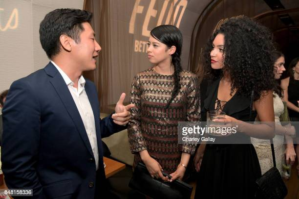 Hiro Murai Amber Midthunder and Bianca A Santos attend FX Networks celebration of their Emmy nominees in partnership with Vanity Fair at Craft on...