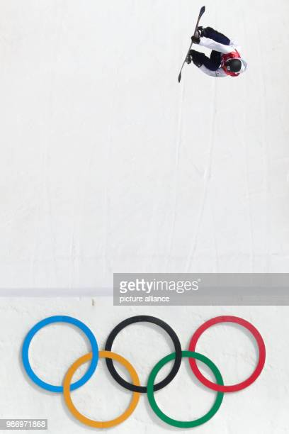 Hiroaki Kunitake from Japan in action during the men's big air snowboarding event of the 2018 Winter Olympics in the Alpensia Ski Jumping Centre in...