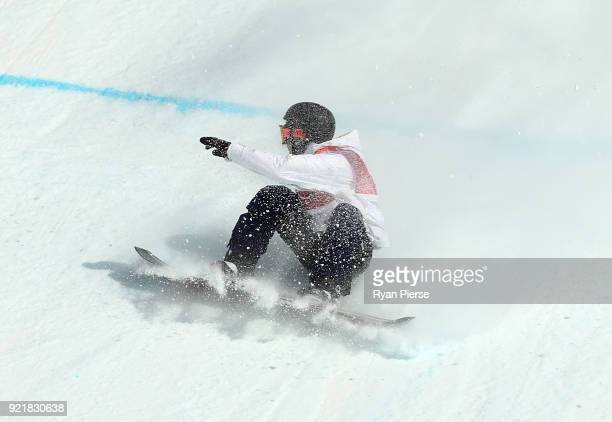 Hiroaki Kunitake of Japan crashes during the Men's Big Air Qualification on day 12 of the PyeongChang 2018 Winter Olympic Games at Alpensia Ski...