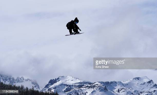 Hiroaki Kunitake of Japan goes over a jump during the Men's Snowboard Slope Style Qualifiers at the 2019 US Grand Prix at Mammoth Mountain on March...