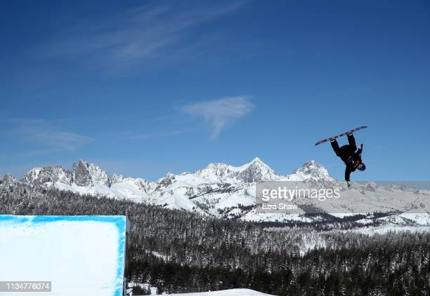 Hiroaki Kunitake of Japan takes a practice run before competing in the Men's Snowboard Slope Style Finals at the 2019 US Grand Prix at Mammoth...