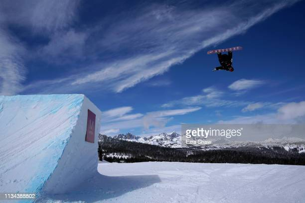 Hiroaki Kunitake of Japan takes a practice run before the start of the Men's Snowboard Slope Style Qualifiers at the 2019 US Grand Prix at Mammoth...