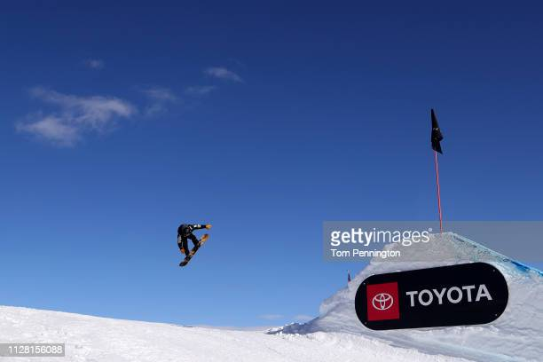 Hiroaki Kunitake of Japan takes a run during the Men's and Ladies' Snowboard Slopestyle Training at the FIS Freestyle Ski World Championships on...