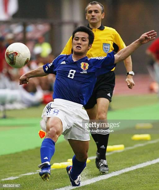 Hiroaki Morishima of Japan in action during the FIFA World Cup Korea/Japan Group H match between Tunisia and Japan at Nagai Stadium on June 14 2002...