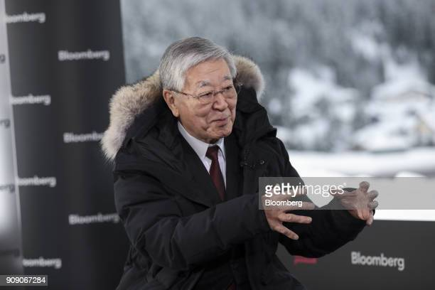 Hiroaki Nakanishi chairman and chief executive of Hitachi Ltd gestures as he speaks during a Bloomberg Television interview on the opening day of the...