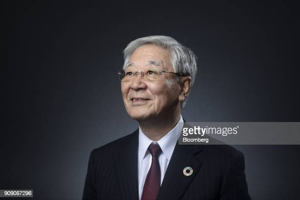 Hiroaki Nakanishi chairman and chief executive of Hitachi Ltd poses for a photograph following a Bloomberg Television interview on the opening day of...