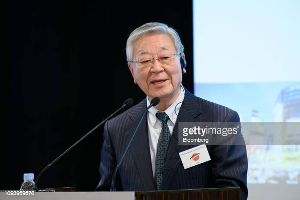Hiroaki Nakanishi chairman of Hitachi Ltd and chairman of business lobby Keidanren speaks during the GermanJapanese Dialogue Forum in Tokyo Japan on...
