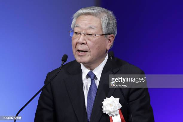 Hiroaki Nakanishi, chairman of Hitachi Ltd. And chairman of business lobby Keidanren, speaks during the Liberal Democratic Party's annual convention...