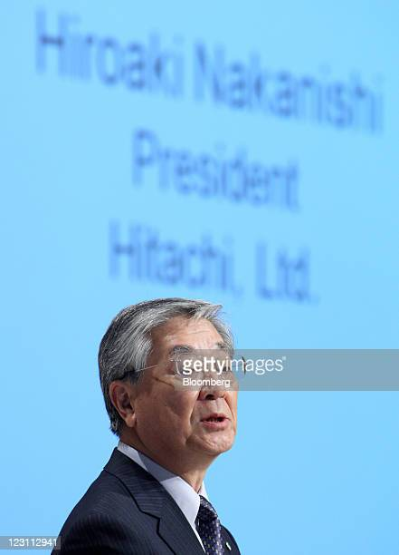 Hiroaki Nakanishi, president of Hitachi Ltd., speaks during a news conference in Tokyo, Japan, on Wednesday, Aug. 31, 2011. Sony Corp., Toshiba Corp....