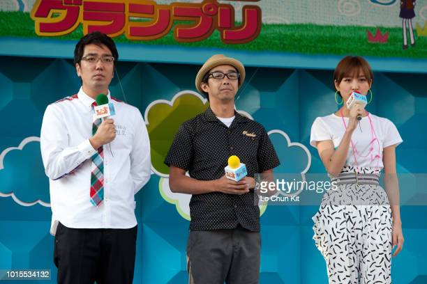 Hiroaki Ogi, Ken Yahagi and a members of Japanese girl group AKB48 Mariko Shinoda attends a event at Tokyo Racecourse on June 6 , 2010 in Tokyo,...