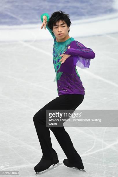 Hiroaki Sato of Japan competes in the men short program during the ISU Grand Prix of Figure Skating at on November 10 2017 in Osaka Japan