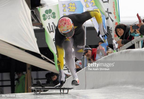 Hiroatsu Takahashi competes in the Men's Skeleton during the All Japan Skeleton And Luge Championships at the Spiral on December 24, 2017 in Nagano,...