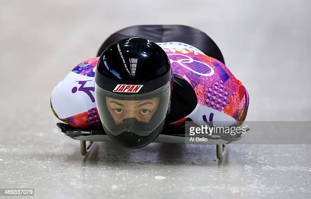 Hiroatsu Takahashi of Japan competes a run during the Men's Skeleton heats on Day 7 of the Sochi 2014 Winter Olympics at Sliding Center Sanki on...