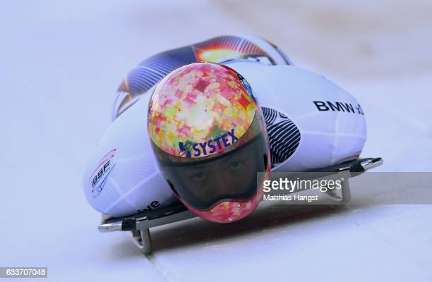 Hiroatsu Takahashi of Japan competes during the Men's Skeleton first run of the BMW IBSF World Cup at Olympiabobbahn Igls on February 3, 2017 in...