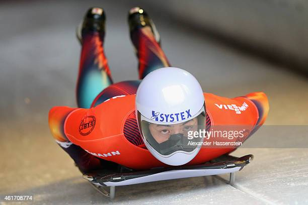 Hiroatsu Takahashi of Japan competes during the Viessmann FIBT Skeleton World Cup at Deutche Post Eisarena on January 17, 2015 in Koenigssee, Germany.