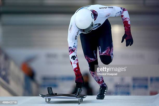 Hiroatsu Takahashi of Japan competes in his first run of the men's skeleton competition during the BMW IBSF Bob & Skeleton Worldcup at Veltins...