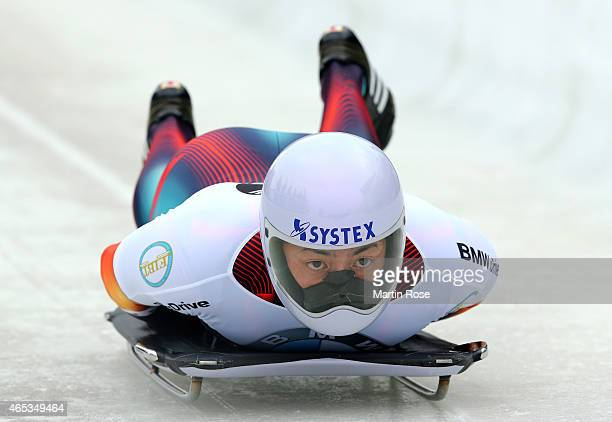 Hiroatsu Takahashi of Japan competes in his third run of the men's skeleton competition during the FIBT Bob & Skeleton World Cup at Bobbahn...