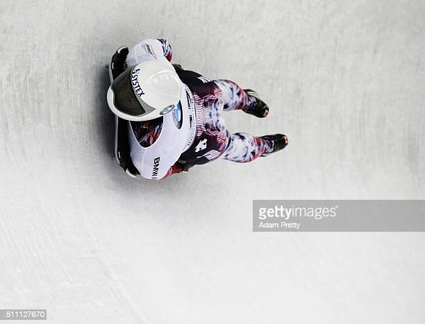 Hiroatsu Takahashi of Japan completes his first run of the Men's Skeleton during Day 4 of the IBSF World Championships 2016 at Olympiabobbahn Igls on...