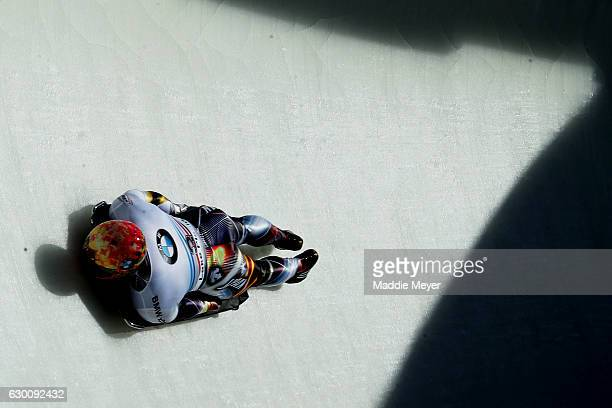 Hiroatsu Takahashi of Japan completes his second run during day 1 of the 2017 IBSF World Cup Bobsled & Skeleton at Lake Placid Olympic Center on...