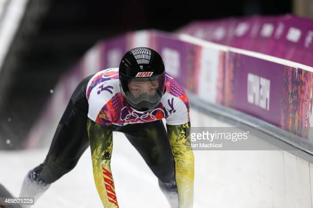 Hiroatsu Takahashi of Japan completes his third run of the Men's Skeleton Final on Day 8 of the Sochi 2014 Winter Olympics at Sliding Center Sanki on...