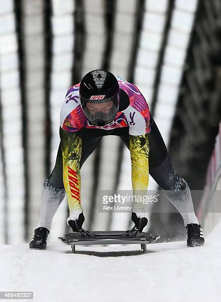 Hiroatsu Takahashi of Japan ends a run during the Men's Skeleton on Day 8 of the Sochi 2014 Winter Olympics at Sliding Center Sanki on February 15,...