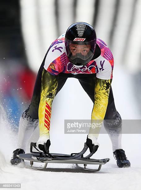 Hiroatsu Takahashi of Japan finishes a run during the Men's Skeleton heats on Day 7 of the Sochi 2014 Winter Olympics at Sliding Center Sanki on...