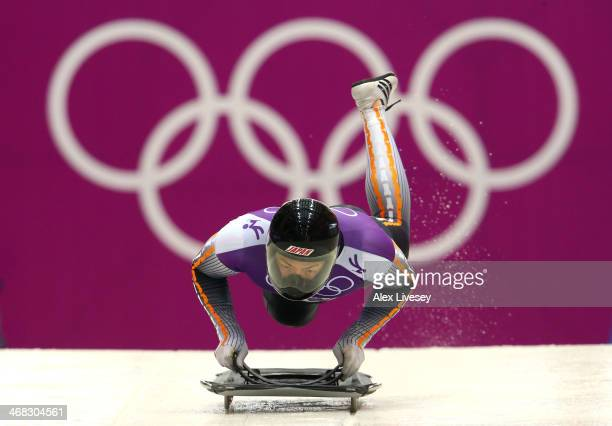 Hiroatsu Takahashi of Japan in action during a Men's Skeleton training session on Day 3 of the Sochi 2014 Winter Olympics at the Sanki Sliding Center...